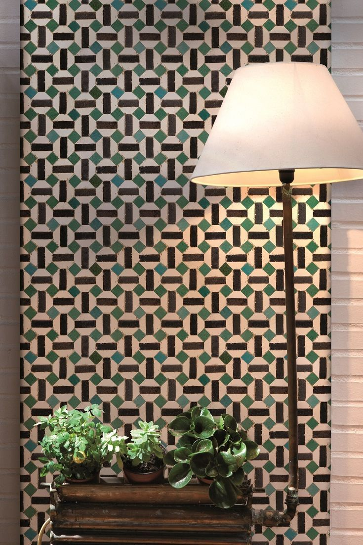 An Interesting Octagonal Wallpaper Design Which Will Give The Effect Of Tiling When Hung Contemporary Wallpaper Designs Wallpaper Decor Tile Wallpaper