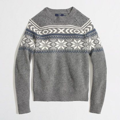 J.Crew Factory - Factory lambswool snowflake Fair Isle sweater ...