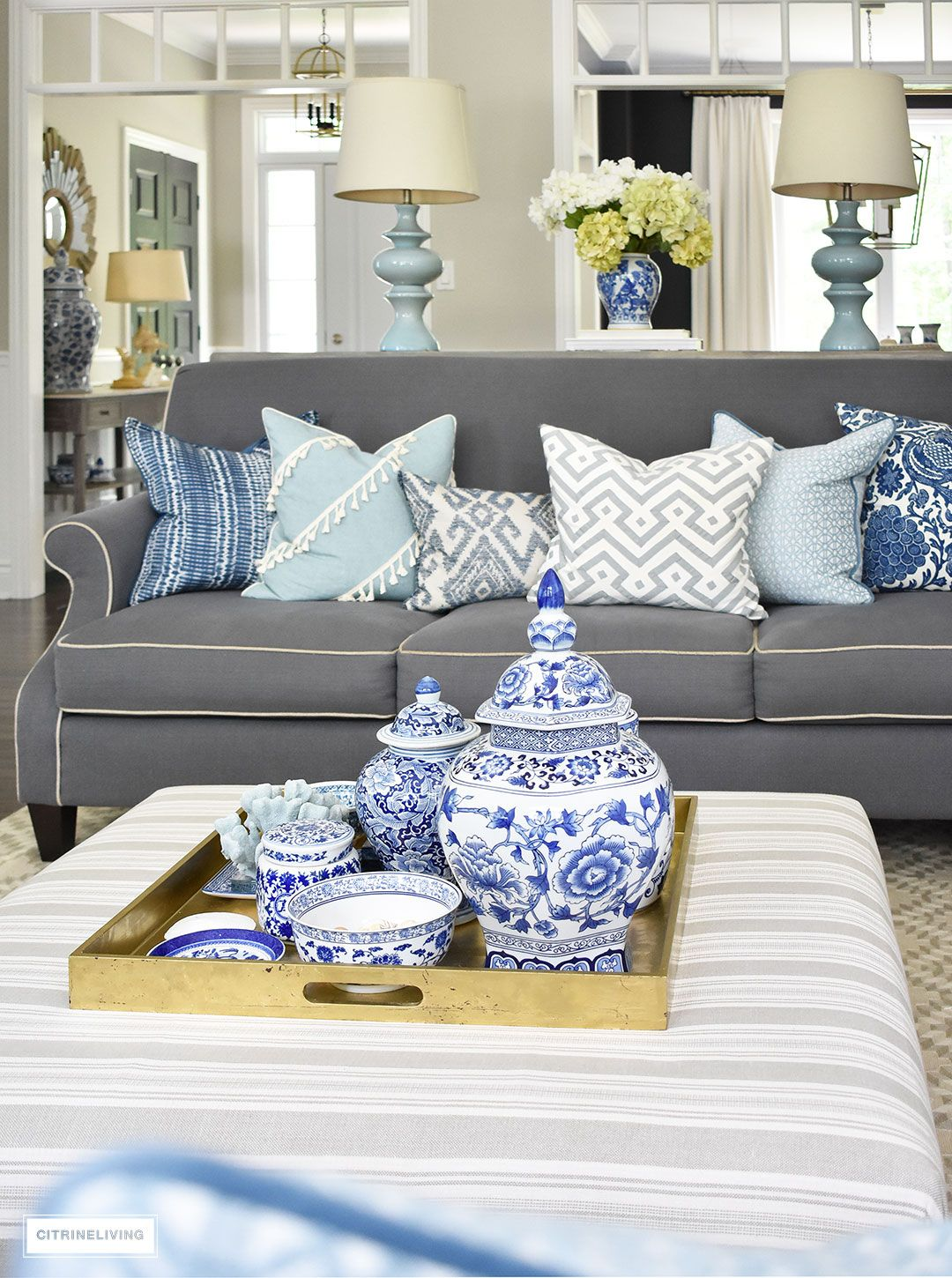 Style A Coffee Table Or Ottoman 3 Ways Citrineliving Blue Living Room Ottoman Coffee Table Blue White Decor [ 1450 x 1080 Pixel ]