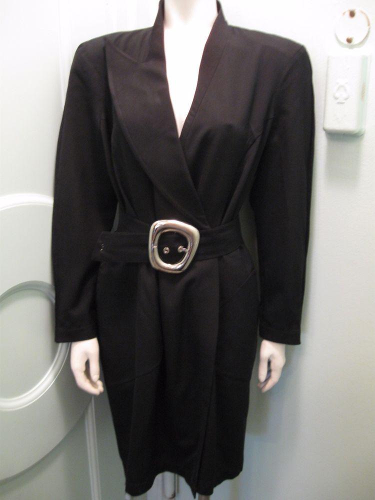 Thierry Mugler 44 Black Wool Coatdress Single Lapel, Belt and Buckle Structured #ThierryMugler #Coatdress