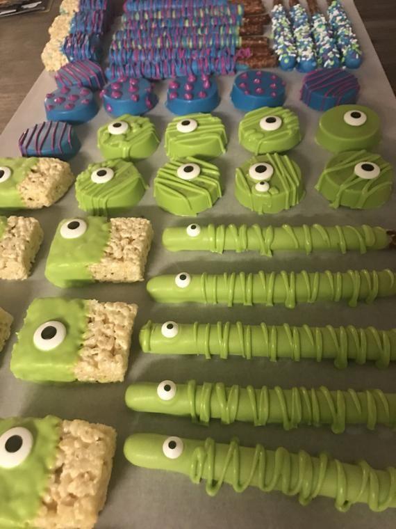 ENVIO GRATUITO 2 docenas de Monstruos Inc Ojos Chocolate Cubierto Pretzels Oreos Fiesta de Cumpleaños Favores