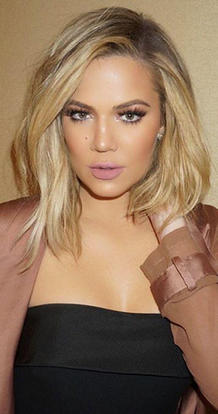 Khloe Khardashian Medium Shoulder Length Hair Straight Lob Collar Soft Blonde Balayage Dark Roots Side Part