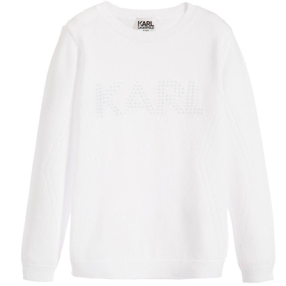 Girls White Cotton Knitted Sweater, Karl Lagerfeld Kids, Girl ...