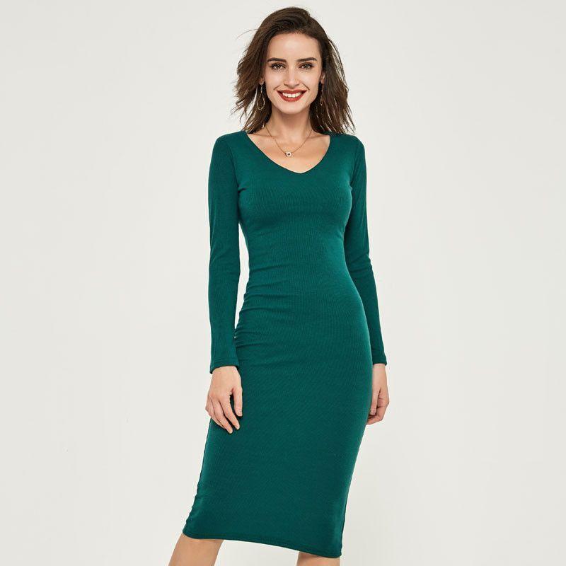 HEE GRAND Auntumn New Women Knitted Dress Slim Elegant Full Sleeve Solid Ankle-Length Long Dresses Vestidos Femininos WQL768