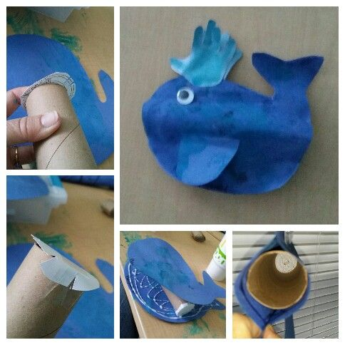 Jonah and the whale.bible craft for preschoolers.  Precut whales,children paint them booth sides as well as precut fins.i found a coloring page from the Internet of Jonah in the whales belly.cut paper towel tube  slightly shorter then the length of whale. Tape picture to one end of tube. Glue together. Make hand print for spout. Hold up to a window and look in whales mouth and see Jonah