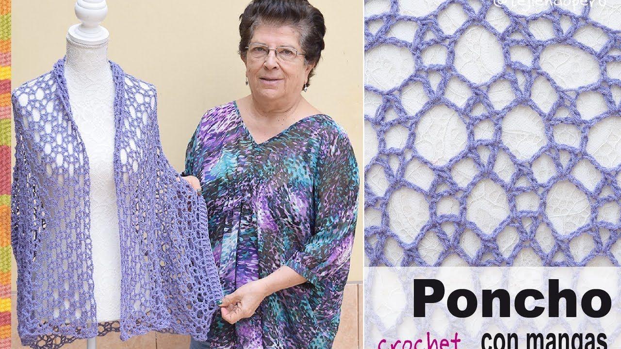 Poncho con mangas en tejido recto a crochet - Tejiendo Perú ...