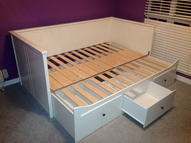 New Ikea Hemnes Daybed Frame With Trundle And 3 Large Drawers White Nib