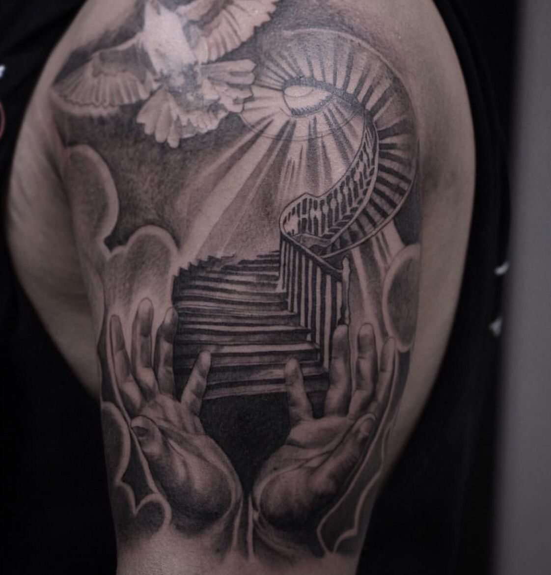 Tattoos for men praying hands stairway to heaven tattoo gabriel hernandez u royal craft gallery