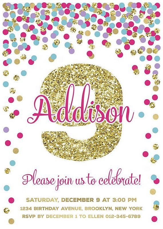 9th Birthday Invitation Girl Printable Hot Pink Teal Purple Gold Confetti Invita