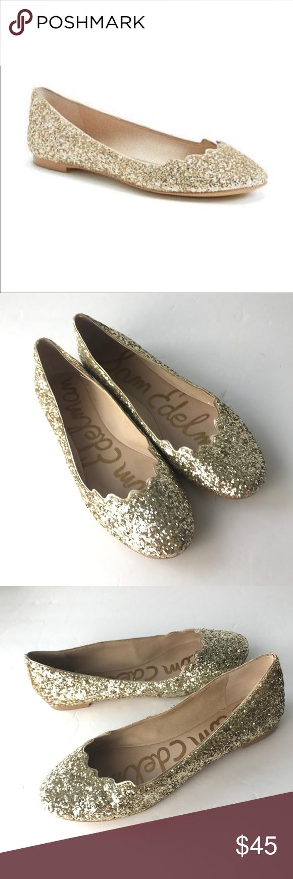 60b5d7f0f Sam Edelman Glitter Ballet Flats Gold shoes Alaine Sam Edelman Alaine Gold  Glitter Ballerina Flats Women