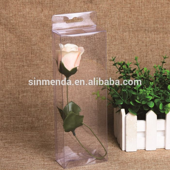 Exquisite plastic clear flower delivery box,single flower
