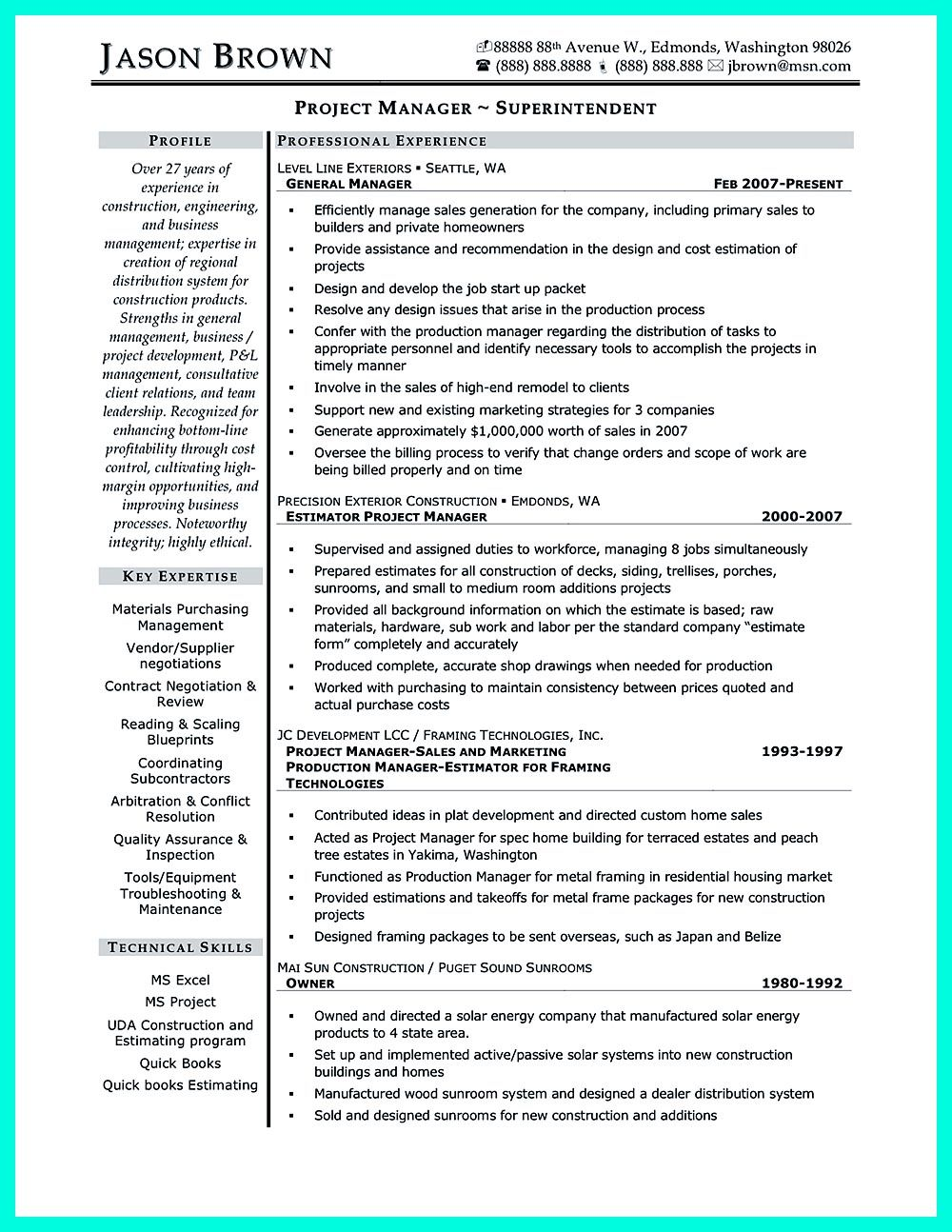 sample resume residential construction superintendent
