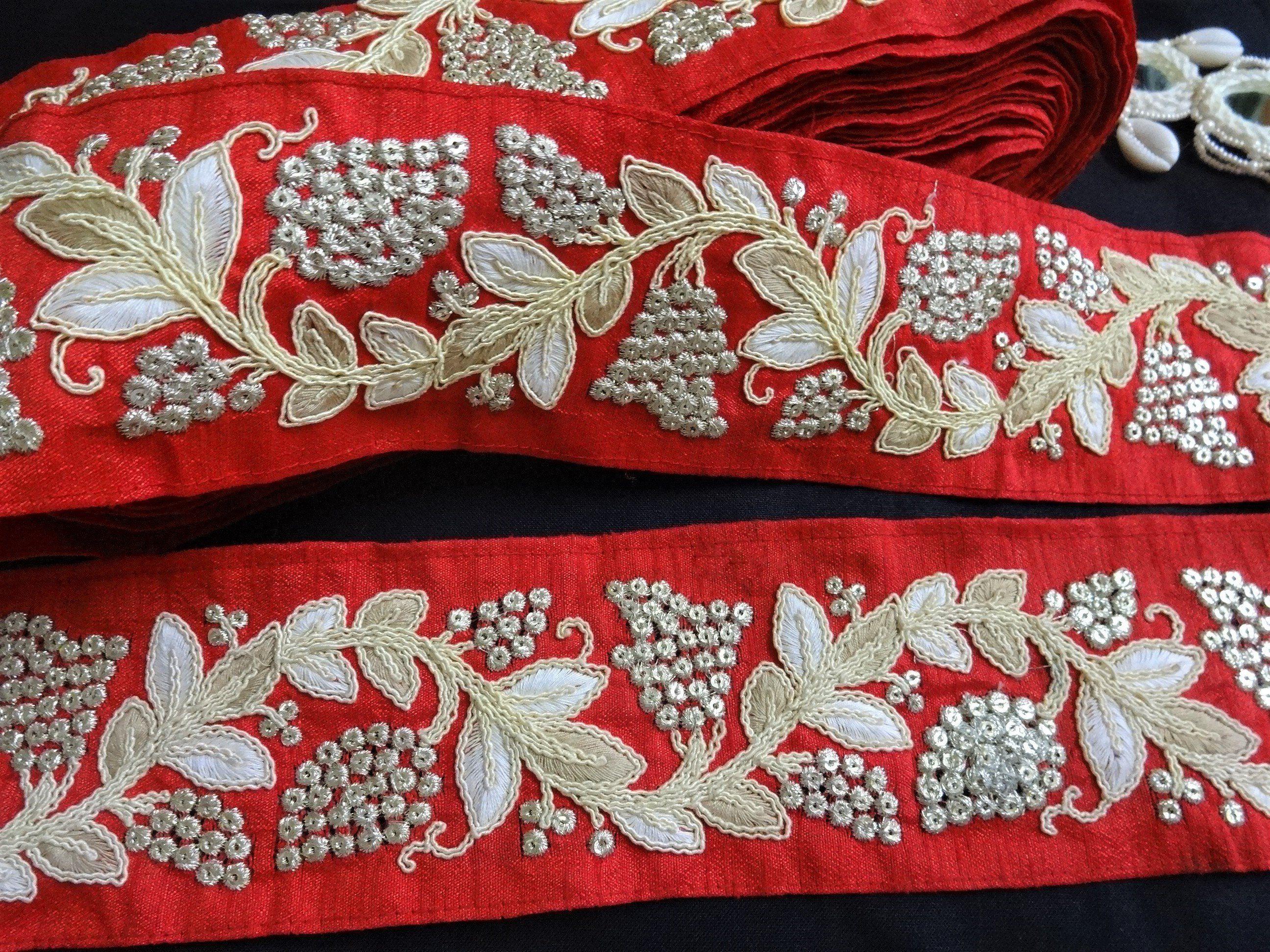 1 Yd Handcrafted Blue Trim Beaded Braided Sew Designer Dress Border Ribbon Lace