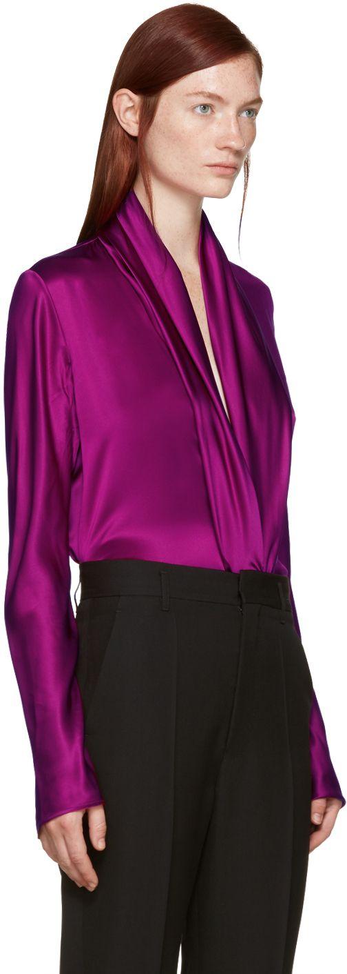 Haider Ackermann: Purple Draped Silk Blouse | SSENSE