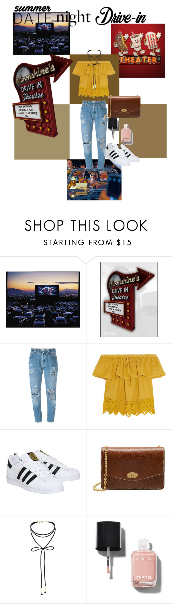 """""""My kind of date night"""" by sorahya ❤ liked on Polyvore featuring Levi's, Madewell, adidas, Mulberry, Miss Selfridge, Chanel, DateNight, drivein and summerdate"""