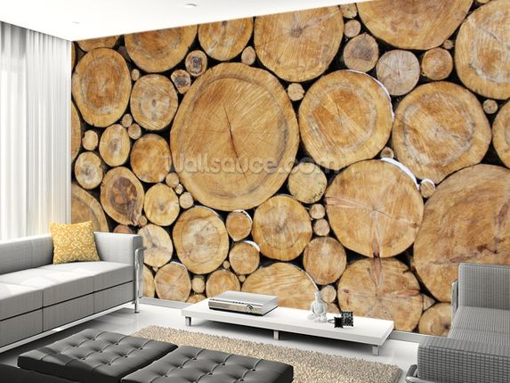Stacked Round Logs Wall Mural Living Room Preview Log Wallpaper Log Wall Wall Wallpaper