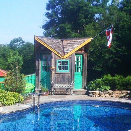 bayside custom pool house cedar shake roofing jamaica cottage shop also best artist office school images arquitetura art ideas cabin rh pinterest
