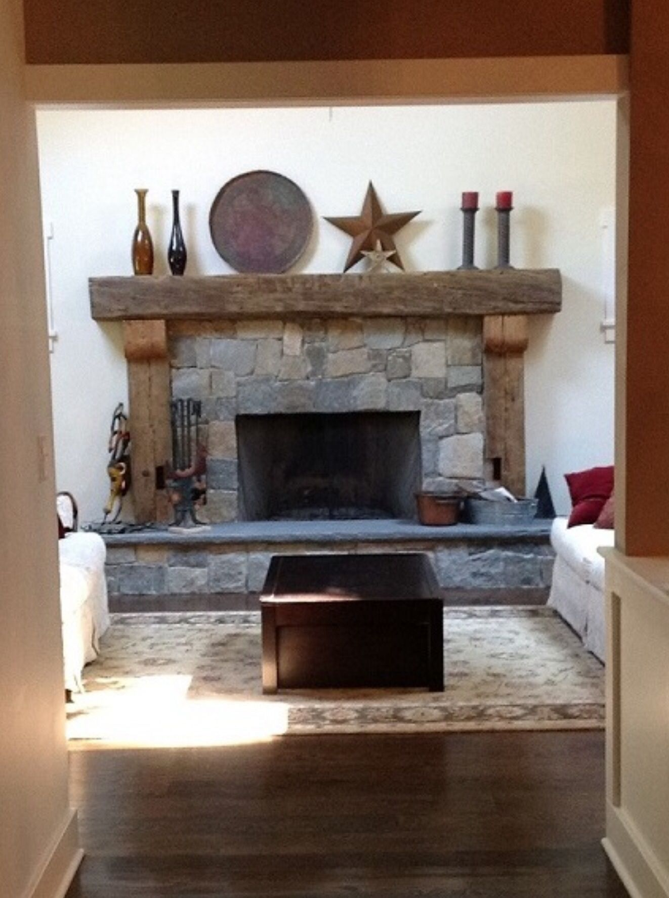 Barn Wood Mantle And Supports Fbs Home Fireplace