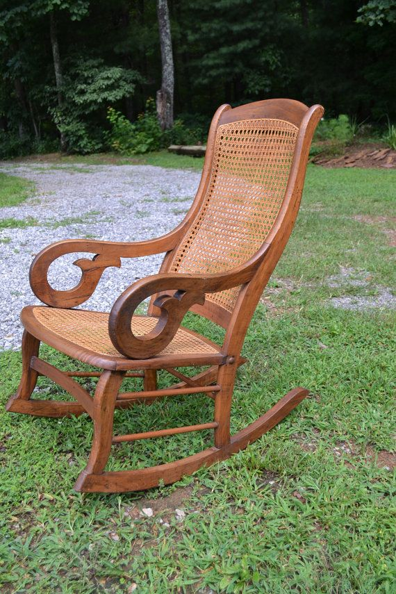 Rocking Chair Cane Table With Hidden Chairs Oak Back And Seat Antique By Panchosporch 165 00