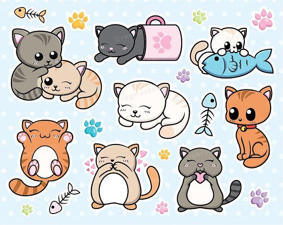 Cat Clipart Kitten Cats Kitty Vector Graphics Chibi Etsy Cat Clipart Kitten Drawing Cute Cat Drawing Easy