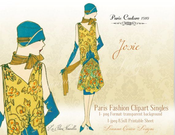 Vintage Clipart 1900 Fashion French Png Format Instant Download Cu Ok Printable 85x11 Sheet
