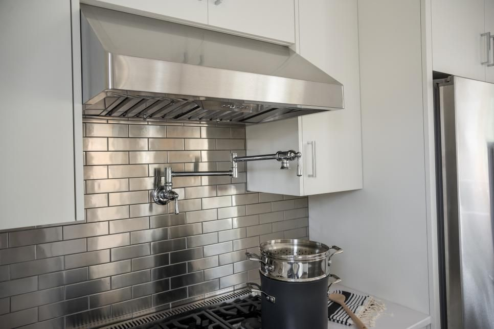 Stainless Steel Arabesque Tile With Gray Grout Stainless Steel Tile Backsplash Stainless Steel Kitchen Backsplash Kitchen Backsplash Panels
