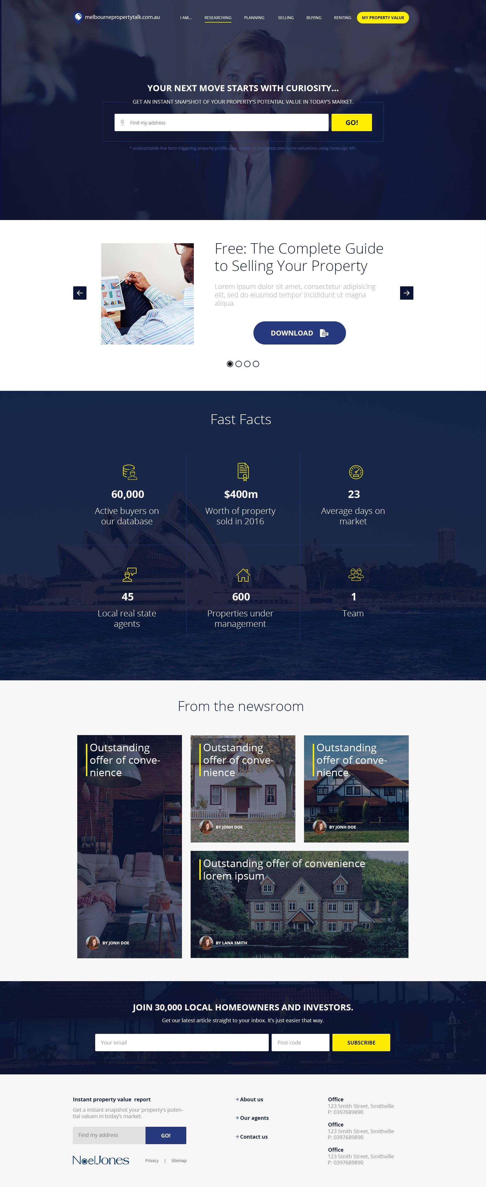 Design 62 By Chandzul Create A Modern Homepage Design For An Established Real Estate Agency In Melbourne Homepage Design Database Marketing Web Inspiration