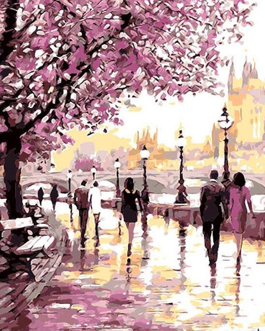 Cherry Blossom Promenade Limited Edition Paint By Numbers For Adults Shop Hundreds Of Acr Landscape Wall Art Canvas Painting Diy Canvas Painting Landscape