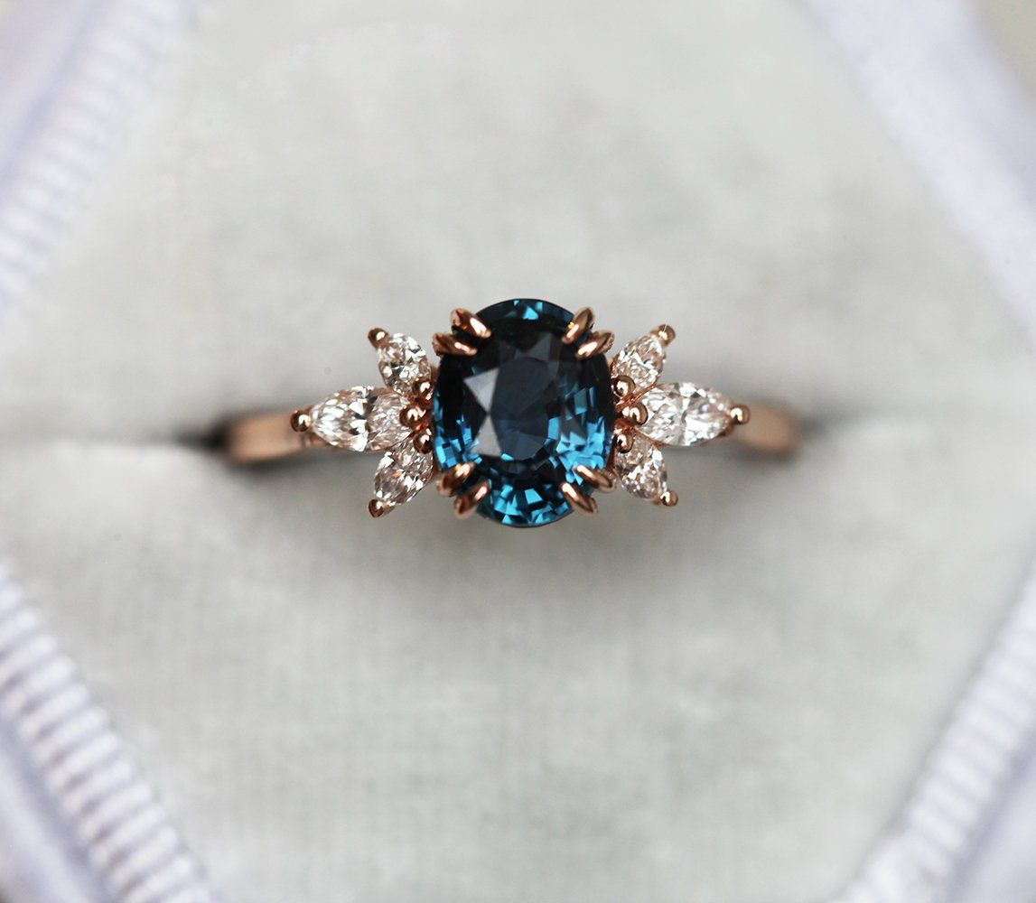 Luella Oval Blue Sapphire Diamond Ring, Blue Sapphire Engagement Ring with Side Diamonds