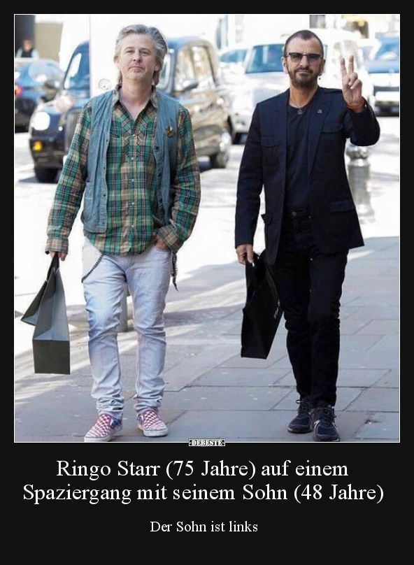 Ringo Starr (75 Jahre) auf einem Spaziergang mit seinem..
