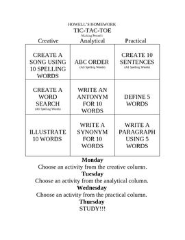 Spelling Tic Tac Toe - I might try this next school year.