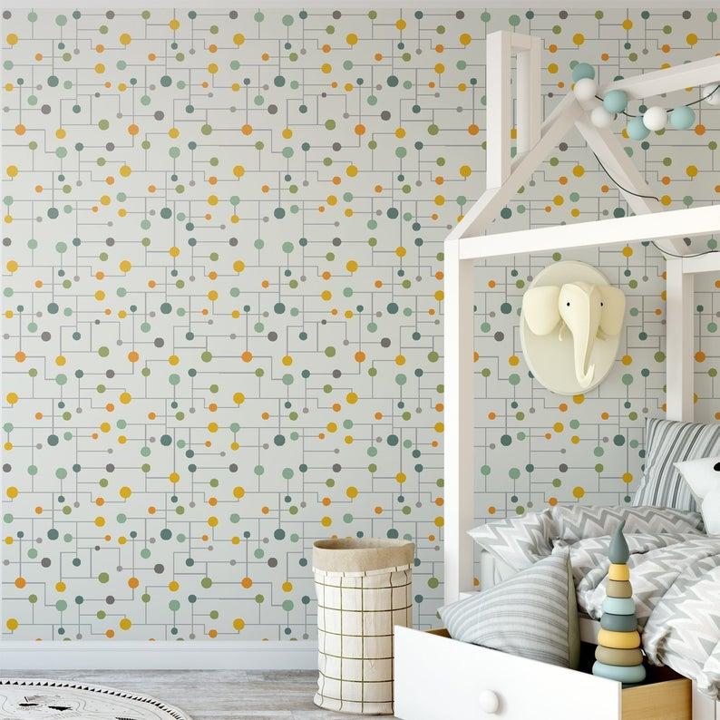 Retro Geometric Mid Century Removable Wallpaper Vintage Etsy Removable Wallpaper Home Decor Kids Wallpaper