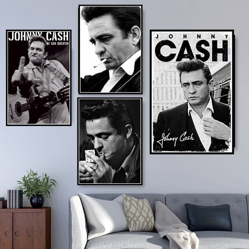 Johnny Cash Rock Music Band Star Vintage Poster And Prints Wall Art Canvas Painting Wall Pictures For In 2020 Wall Art Canvas Painting Poster Wall Art Wall Art Prints