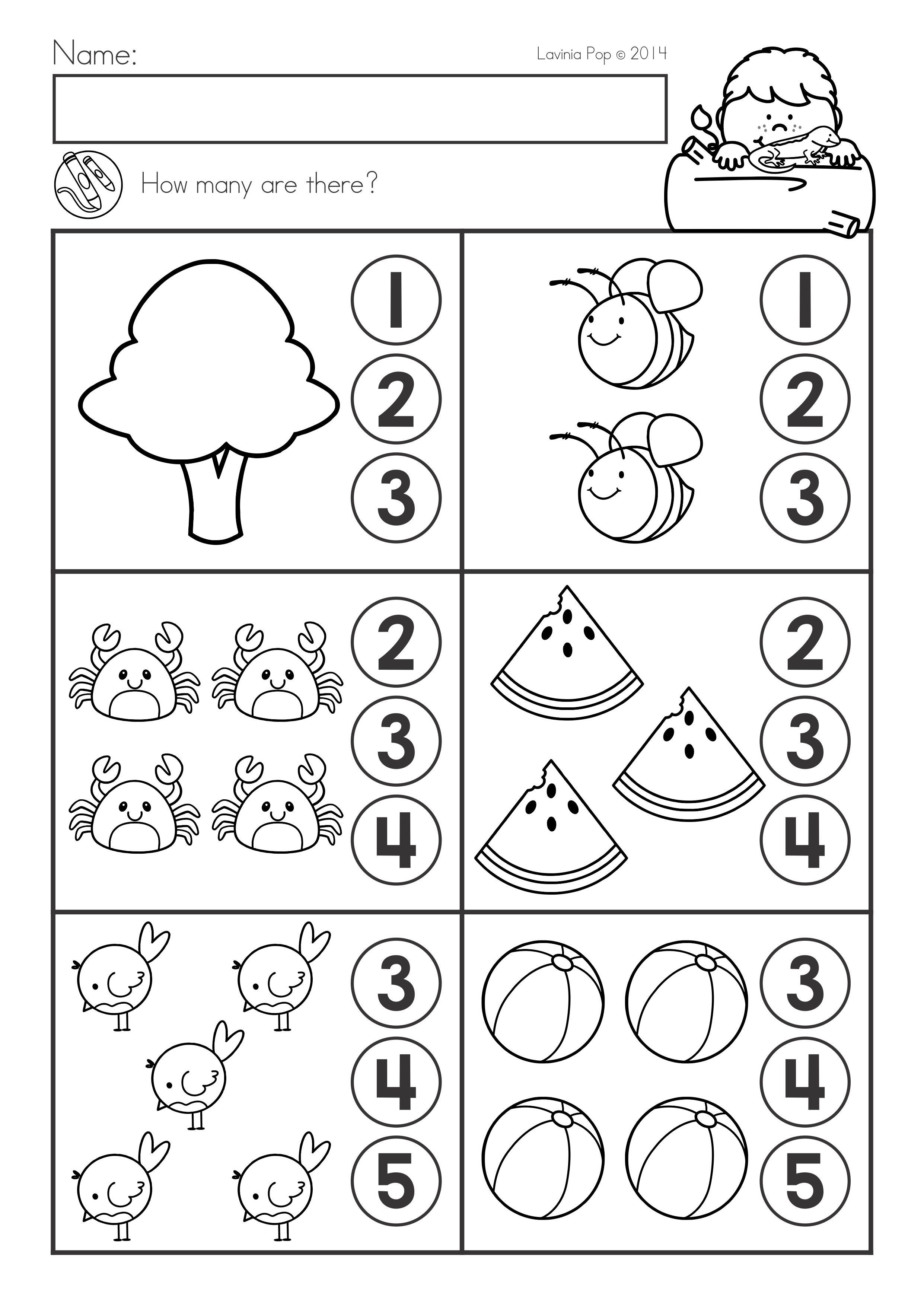 Summer Review Kindergarten Math & Literacy Worksheets ...