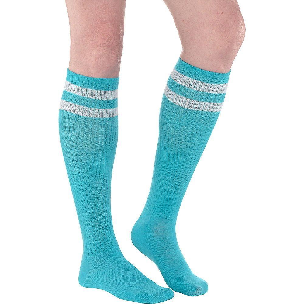 Turquoise Stripe Athletic KneeHigh Socks 19in in 2020