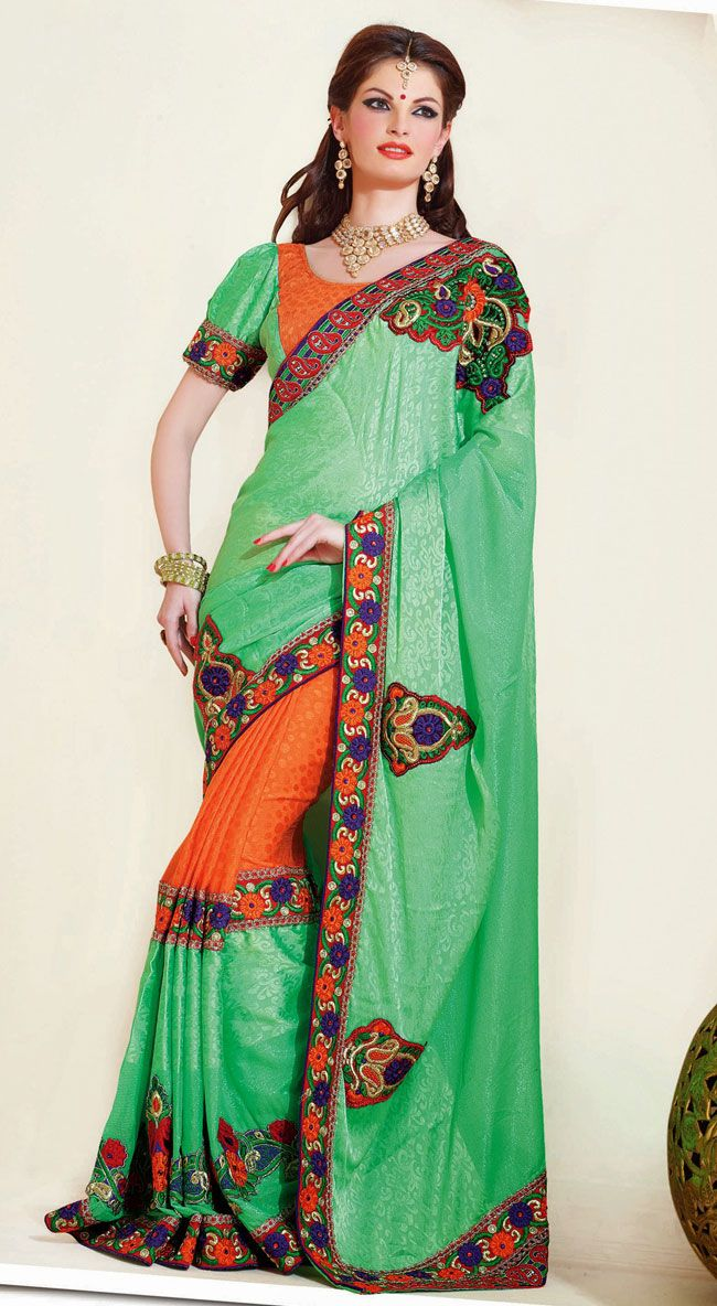 Classic Green and Orange Jacquard with Satin Party Wear Saree - IG331383USD $ 94.09