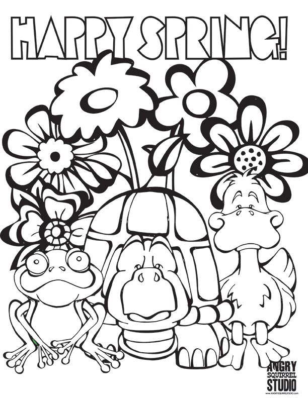 free happy spring coloring pages