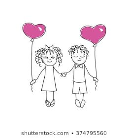 Cute cartoon couple with heart shaped balloons, vector illustration. Freehand drawing