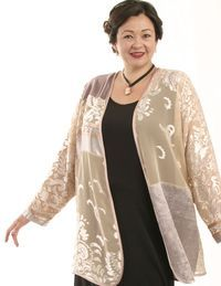 This one-of-a-kind, Plus-Size special occasion Daisy jacket was created here in our Studio by collaging precious fabrics in champagne, ice, pink and silver.The Daisy Jacket is soft and comfy to wear as a cardigan, with contemporary elegance.  #PeggyLutzP