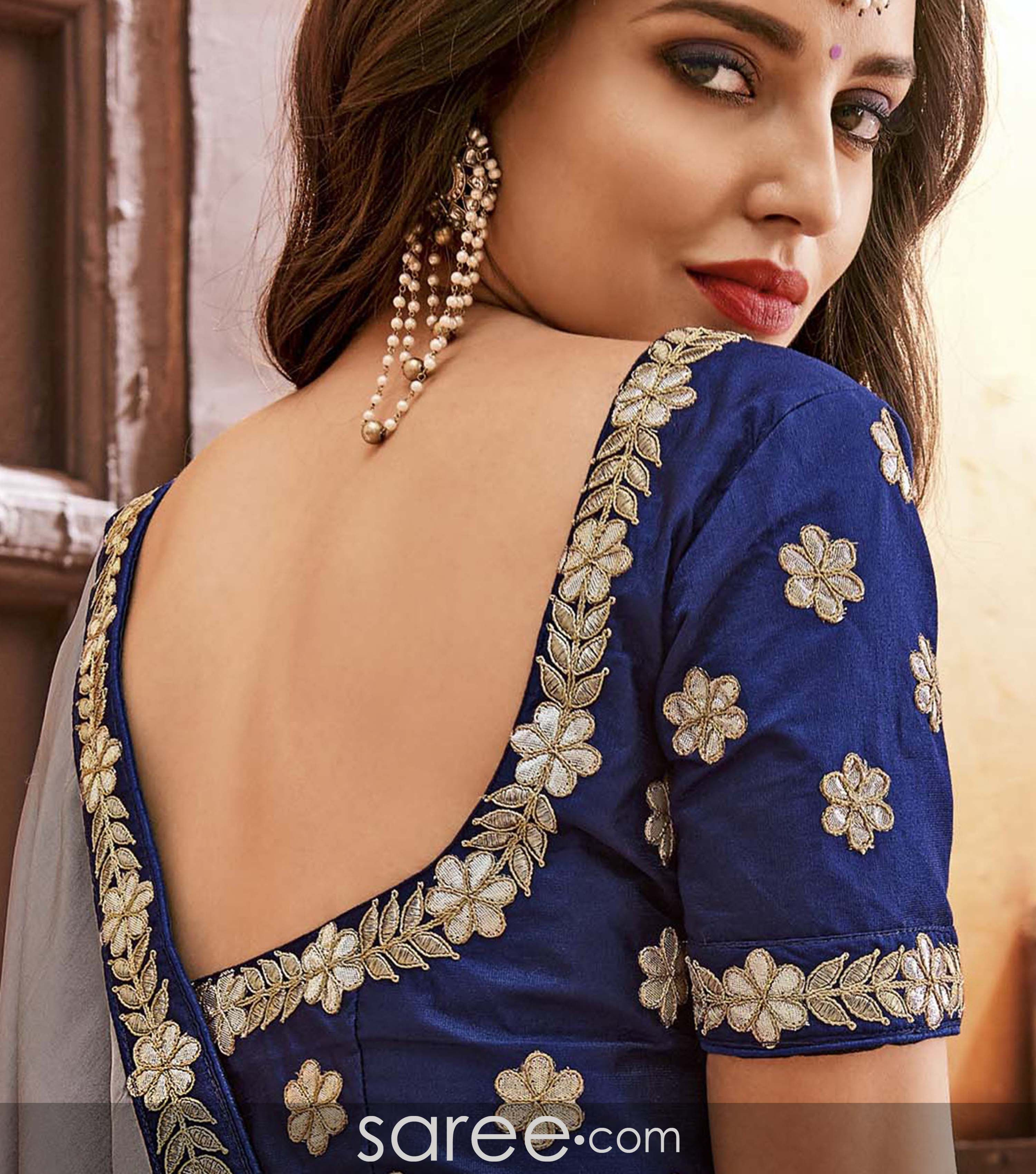 Grey Saree With Blue Deep Neck Blouse Design Blouse Neck Designs Backless Blouse Designs Blouse Designs