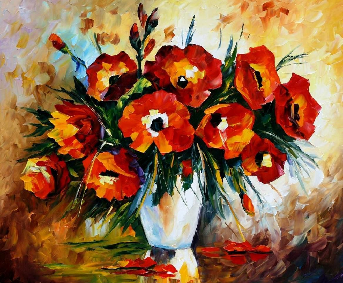 Red Flowers Palette Knife Oil Painting On Canvas Oil Painting