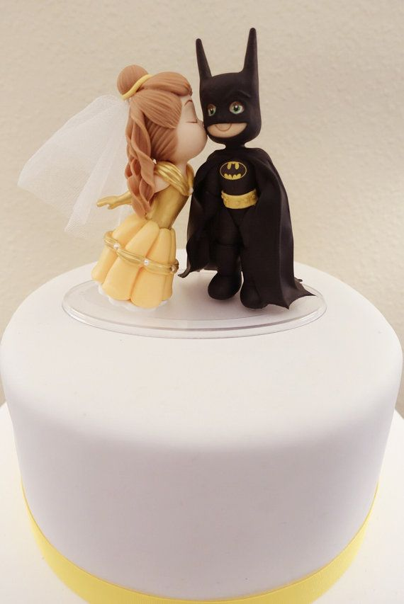 Belle Light Brown Hair and Batman Cake Topper. Wedding Cake | Geek ...