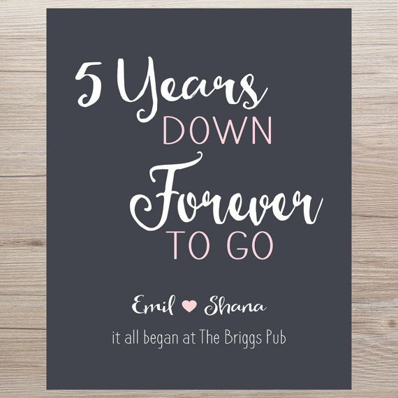 Anniversary Gift 5 Years Forever To Go It All Began Personalized Print Canvas For Him