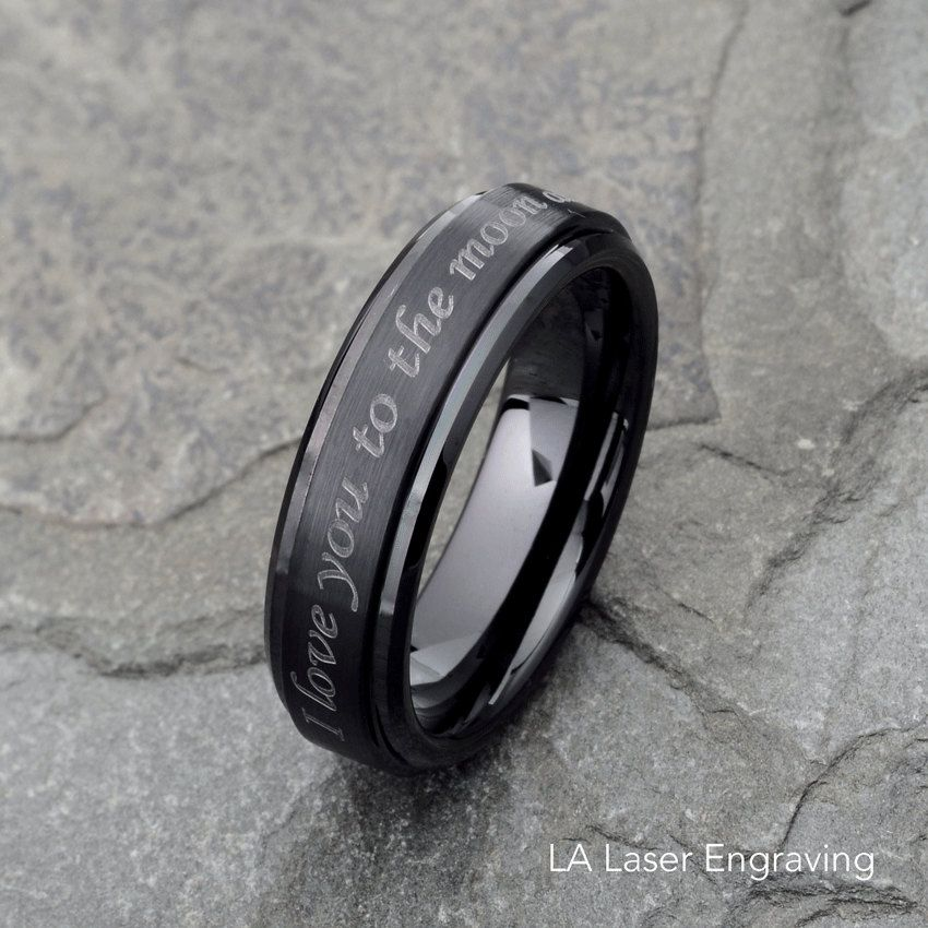 Mens Wedding Band Custom Engraved Top Tungsten Black Ring Personalized By LALaserEngraving On