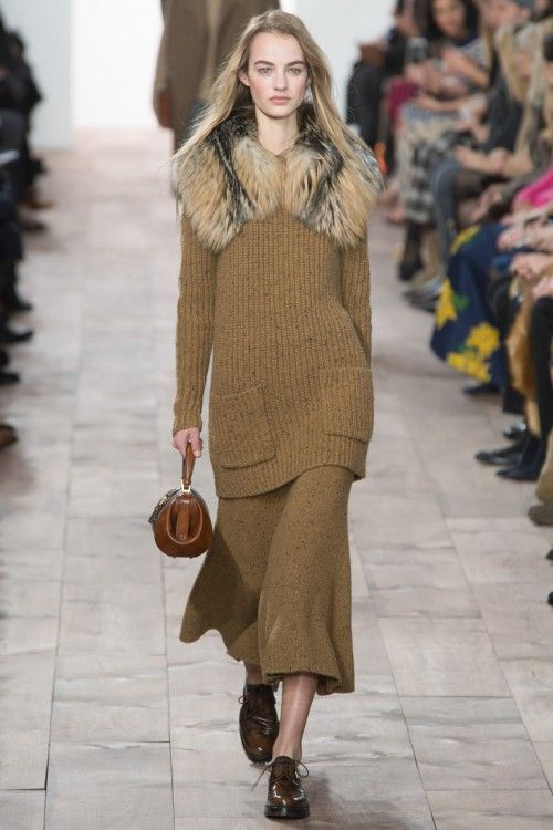 Michael Kors осень-зима 2015-2016 Fashion Week, NYFW, Knitwear, модные тренды, вязаный джемпер, вязаная юбка (фото 2)