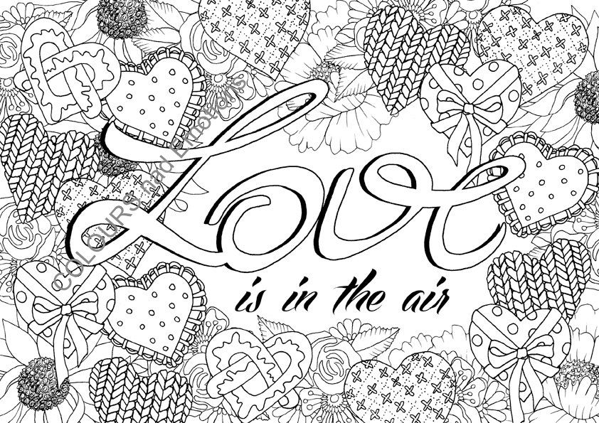 Love Is In The Air Coloring Page Adult Coloring Page