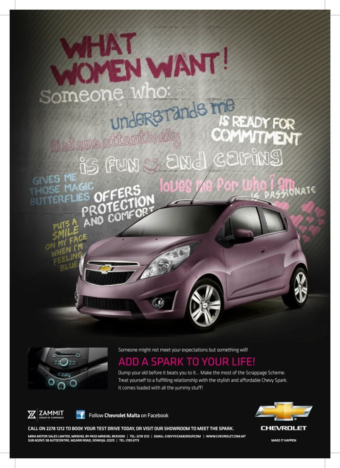Full-page ad for the Chevrolet Spark in Pink Magazine. Our Brand Strategy and design team had a fun time coming up with the concept for it - we love it!