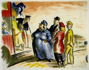 """""""Bus Stop by Edward Ardizzone from the """"Contemporary Lithographs"""" series, 1938"""