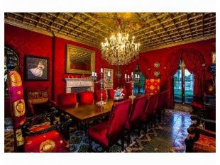 This bright red formal dining room in this Miami Beach home is gorgeous. Now that's a formal dining room wow!