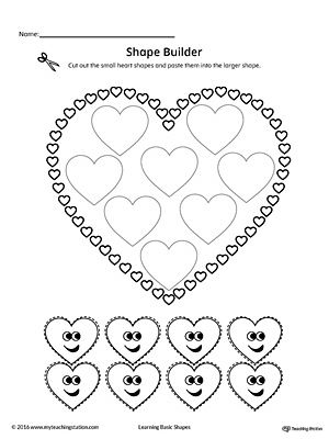geometric shape builder worksheet heart art shapes worksheets shape worksheets for. Black Bedroom Furniture Sets. Home Design Ideas